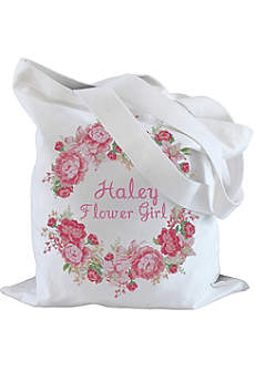 Personalized Peony Flower Girl Tote Bag