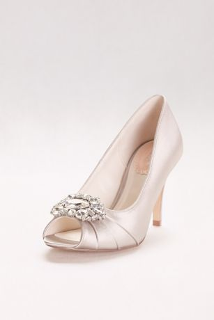 Pink Paradox Blue;Grey;Ivory;Pink (Satin Peep Toe Heels with Ornate Crystal Detail)