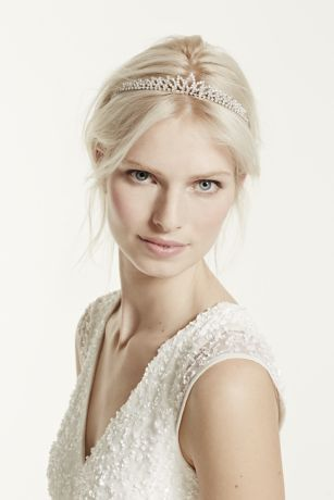 Crystal Accented Leaf Tiara