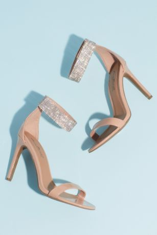 Anne Michelle Beige Heeled Sandals (Pave Crystal Ankle Cuff Patent Heeled Sandals)