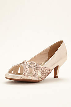 Dyeables Grey Pumps (Tracy Crystal Peep Toe Pump)