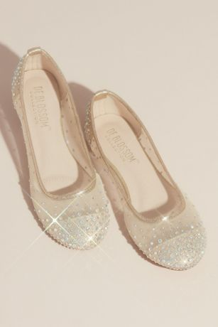 David's Bridal Beige;Grey Ballet Flats (Illusion Toe Cap Crystal Embellished Ballet Flats)