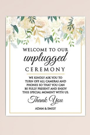 Unplugged Wedding Personalized Wedding Sign