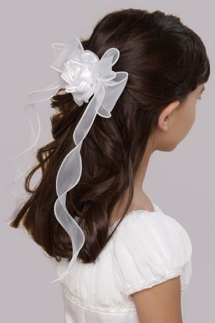 Organza Twirly Ribbon Barrette
