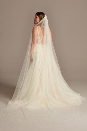 Crystal Embellished Cathedral Length Tulle Veil
