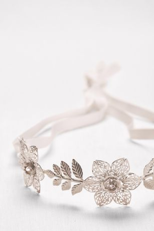 Filigree Flower Headband with Tieback