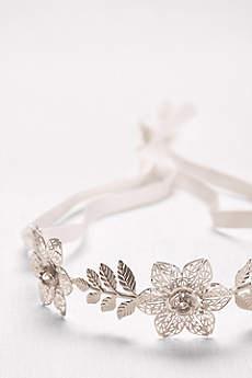 Filigree Flower Headband with Tieback