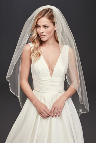 One Tier Fingertip Floral Embroidered Veil