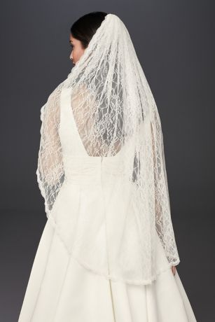 Allover Lace Scalloped Fingertip Mantilla Veil