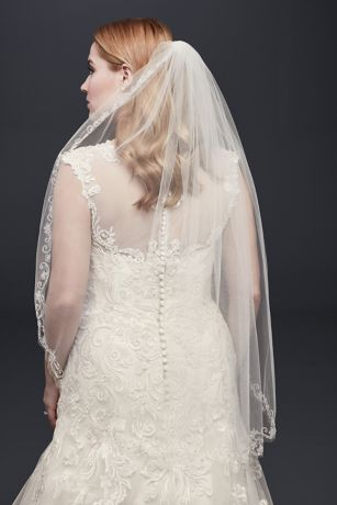 One Tier Mid Veil with Floral Swirl Embellishment