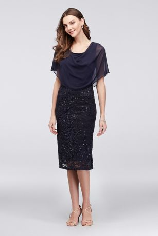 Sequin Lace Short Dress with Chiffon Capelet
