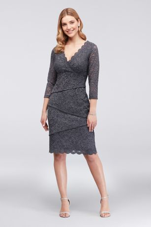 Tiered Glitter Lace Dress with 3/4 Sleeves
