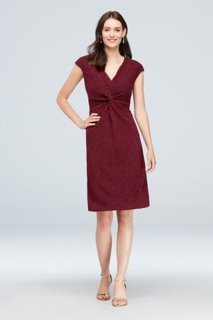 Short Sheath Cap Sleeves Dress - Ronni Nicole