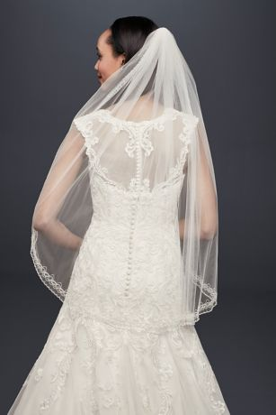 One Tier Mid Veil with Beaded Design