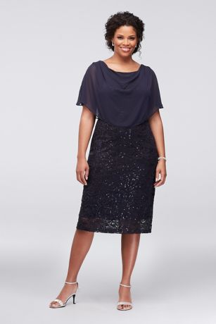 Sequin Lace Plus Size Short Dress with Capelet