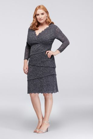 Tiered Lace Plus Size Dress with 3/4 Sleeves