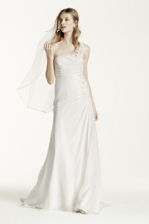 One Shoulder Chiffon Gown with Floral Appliques