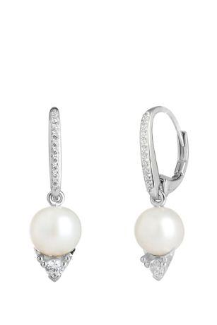 Freshwater Pearl and Cubic Zirconia Drop Earrings