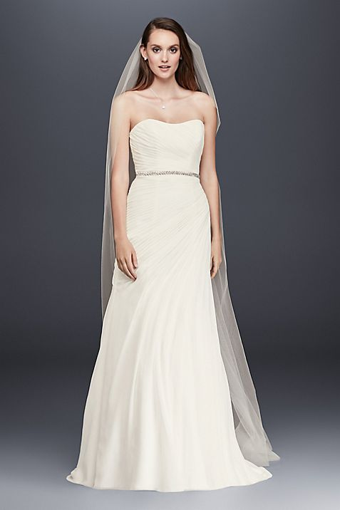 Chiffon Wedding Dress with Asymmetrical Draping | David\'s Bridal