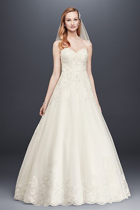 Beaded Lace and Tulle Ball Gown Wedding Dress | David\'s Bridal