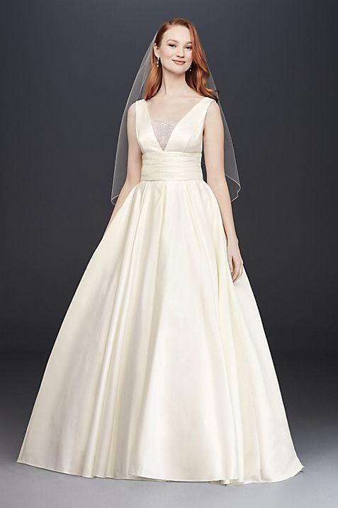 Satin Cummerbund Ball Gown Wedding Dress | David\'s Bridal