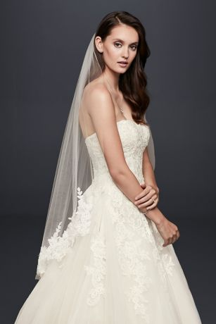 Trailing Floral Lace Applique Fingertip Veil