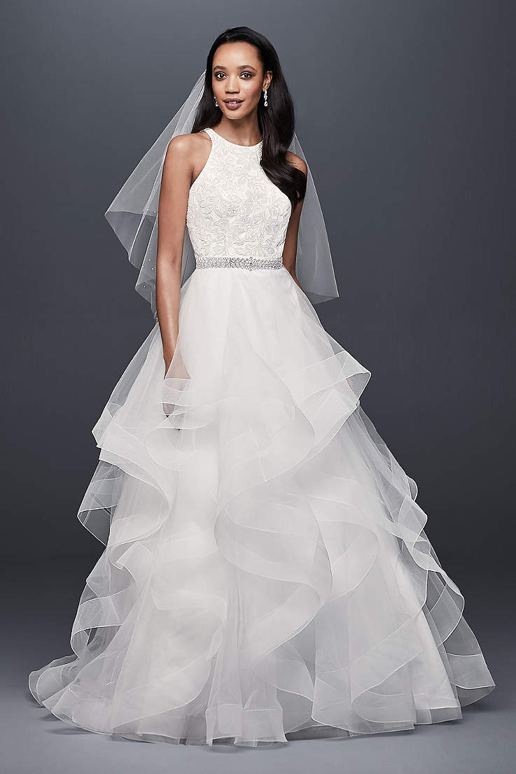 Long Ballgown Wedding Dress - David s Bridal Collection 7a8fc6350bf5