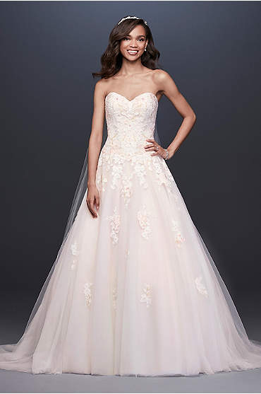 Embroidered Lace Applique Ball Gown Wedding Dress