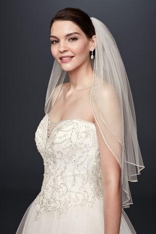 Two Tier  Sparkling Rhinestone Edged Mid Veil