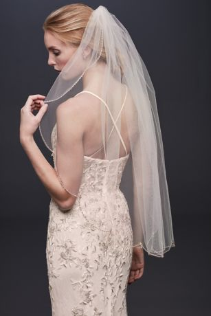 Beaded Scallop Trimmed Fingertip Veil