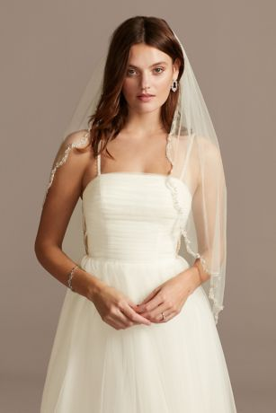 Pearl and Bead Scalloped Edge Tulle Fingertip Veil