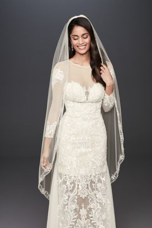 Crystal Flowers Embroidered Veil with Scallop Hem