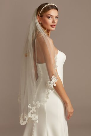 Embroidered Floral and Crystal Mid-Length Veil