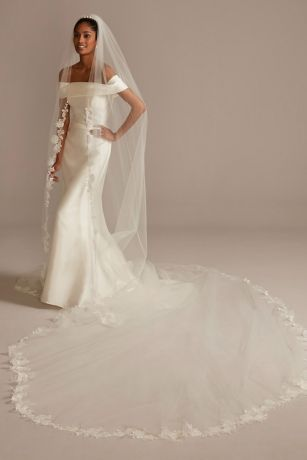 Embroidered 240in Beaded Floral Scroll Royal Veil