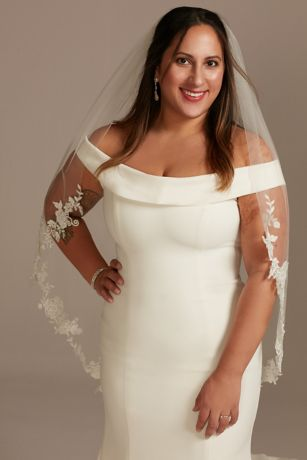 Embroidered Beaded Floral Scroll Fingertip Veil