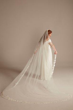 Beaded Floral Applique-Edge Cathedral-Length Veil