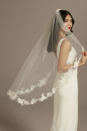 Cutout Lace Edge Mid-Length Veil with Sequins