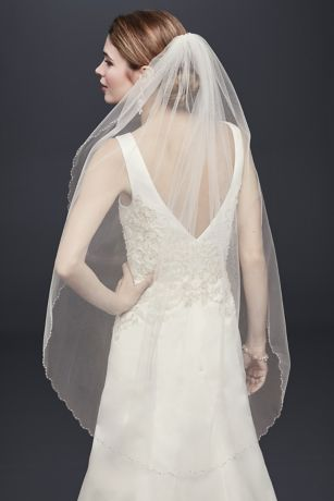 Mid Veil with Beaded Scalloped Edge
