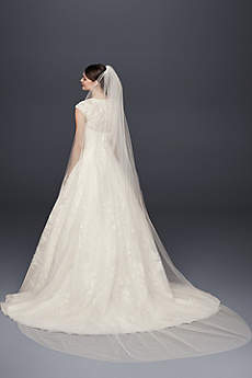 Single-Tier Raw Edge 120-Inch Cathedral Veil