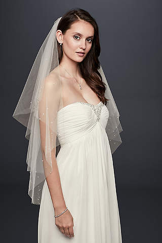 Crystal And Pearl Two Tier Fingertip Veil
