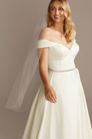 Raw-Edge Tulle Mid-Length Veil