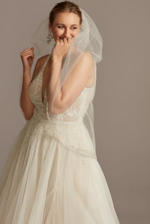 Mid-Length Veil with Encrusted Filigree Edge