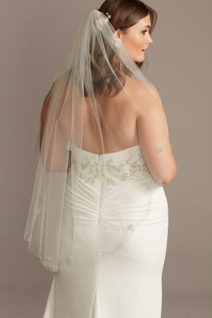 Dainty Beaded Scalloped Mid-Length Veil