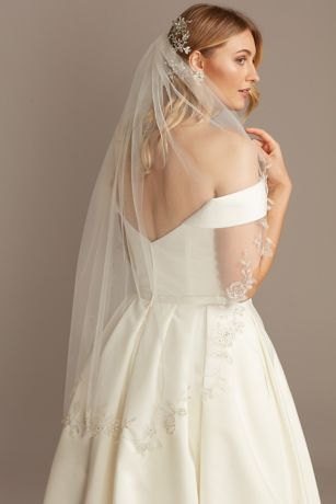 Floral Edge Mid-Length Veil with Beading