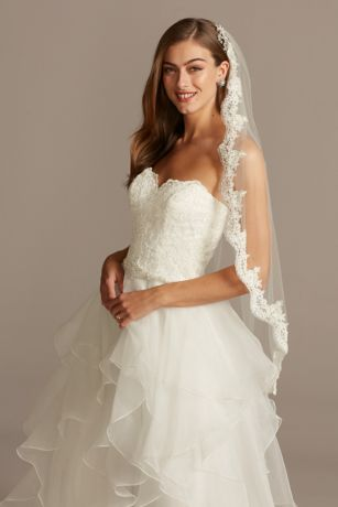 Tulle Fingertip Veil with Scalloped Lace Edge