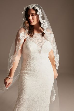 Floral Lace and Tulle Mantilla Cathedral Veil