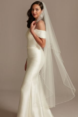 Pearl Bead And Crystal Trimmed Tulle Walking Veil