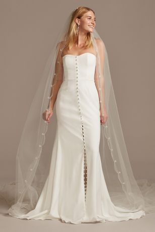 Cathedral Length Veil with Beaded Scalloped Trim