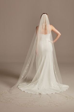 Chapel Length Veil with Embroidered Beaded Scrolls
