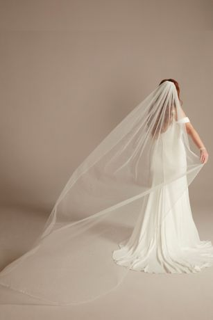 Scattered Beads and Pearls Long Glitter Veil